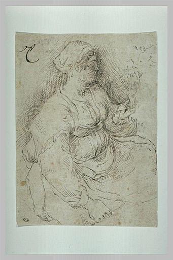 Femme assise, tenant un objet dans la main gauche