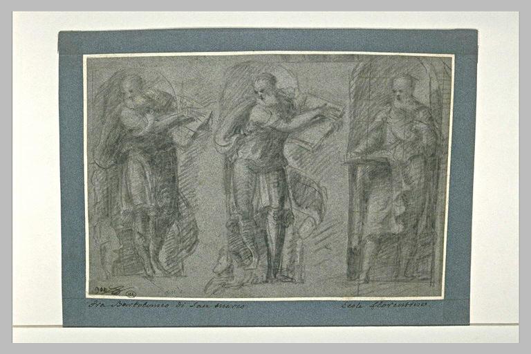 Etude de trois évangélistes, debout dans des niches, écrivant