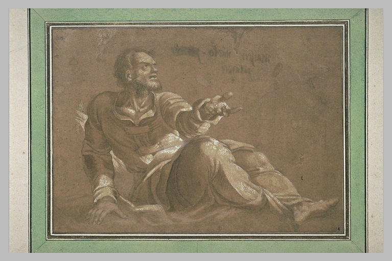 Homme assis, tourné vers la droite, avançant la main gauche