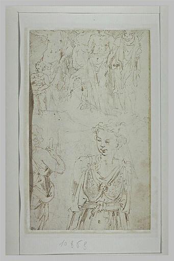 Femme, de face ; femme tenant un baton, de dos ; figures près d'un cheval