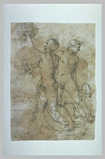 Homme nu tenant du feuillage et un autre tenant un bouc par une corne