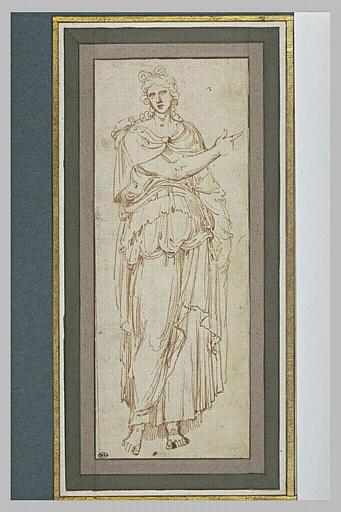 Femme debout, drapée, tendant le bras droit, d'après l'antique