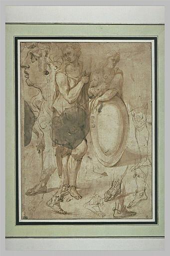 Etudes : tête, figure debout, figure avec un bouclier, pieds et jambes