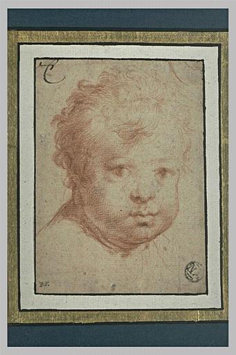 Une tête d'enfant vue de face