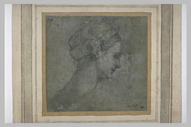 Etude d'une tête de jeune femme, vue de profil, à droite