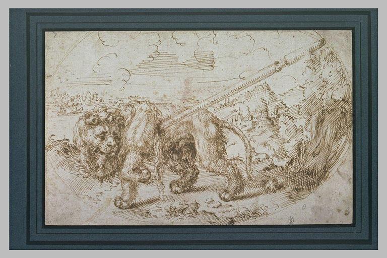 Un lion mourant, blessé par un javelot