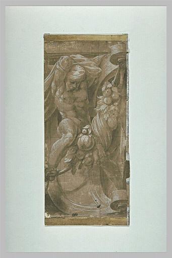 Atlante : figure d'homme à cheval sur une guirlande de fleurs et de fruits