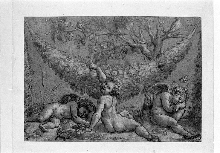 Trois amours, une guirlande de fruits et un arbre_0