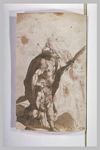 Abraham armé d'un glaive conduit Isaac au sacrifice