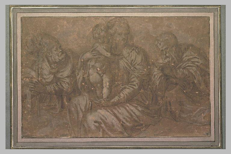 La Vierge assise avec l'Enfant entre un évèque et saint Joseph