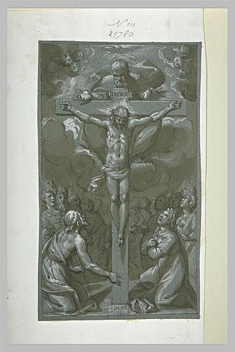 Trinité adorée par saint Jean Baptiste, une sainte et des martyrs