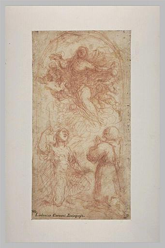 La Vierge en gloire adorée par deux saints