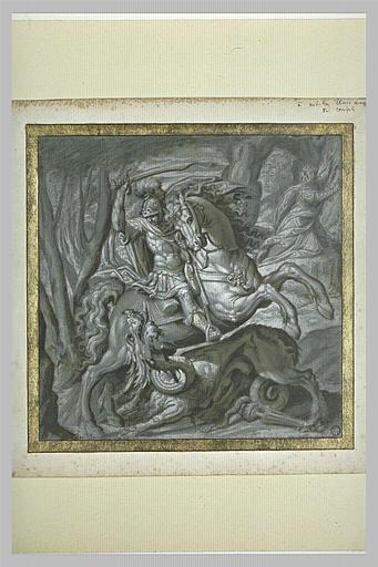 Saint Georges à cheval combattant le dragon