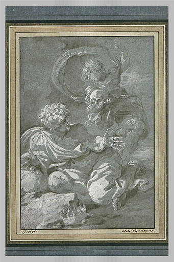 Ange tenant un crâne apparaissant à un roi ayant mis sa couronne à ses pieds