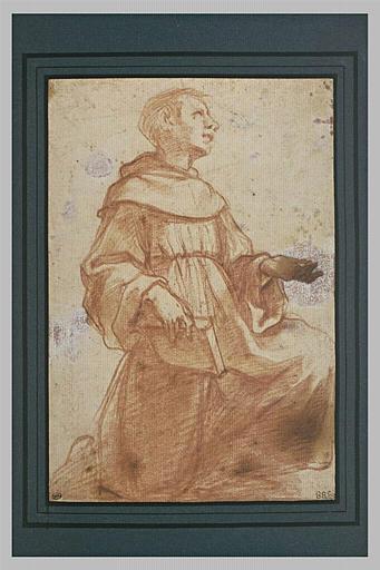 Un franciscain, un genou en terre, les yeux au ciel