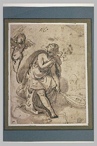 Une femme drapée assise, tenant un luth