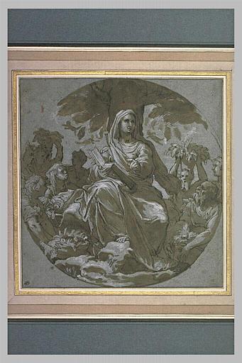 Femme assise, tenant un livre, à qui on apporte des offrandes de fruits
