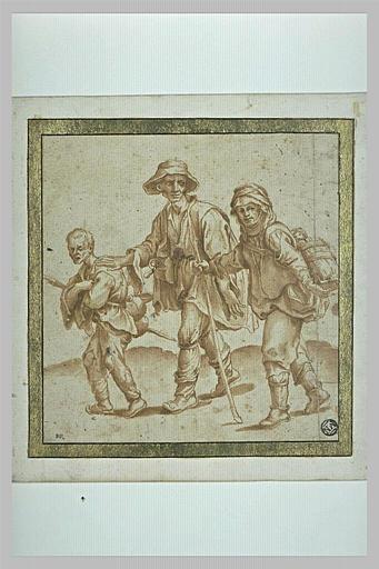 Trois bohémiens marchant vers la gauche
