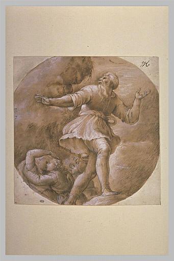 Un homme debout, à ses pieds, deux figures s'embrassant, et une autre buvant