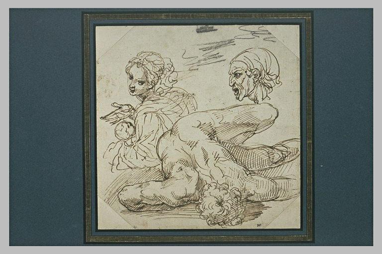 Etudes : femme et enfant ; profil de femme ; homme étendu, vu du dessus