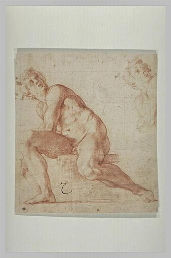 Homme nu, assis, de face, se penchant à gauche, et reprise de la tête