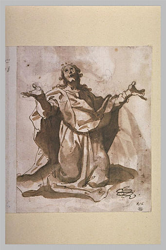 Le Christ en prière, vu de face, agenouillé