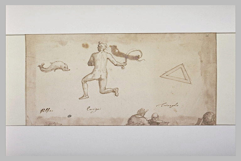 Trois signes du zodiaque : le triangle, le Dauphin, homme tenant un fouet_0