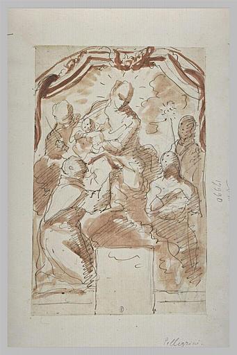 Saints adorant la Vierge assise avec l'Enfant Jésus