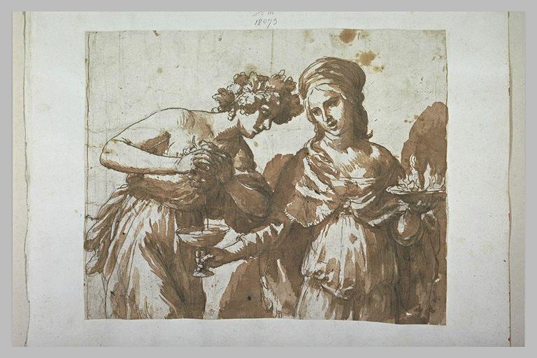Figure pressant du raisin dans une coupe tendue par une femme