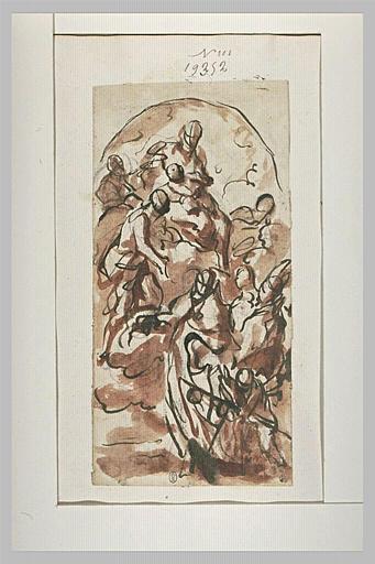 Figures en adoration devant la Vierge à l'Enfant sur des nuages