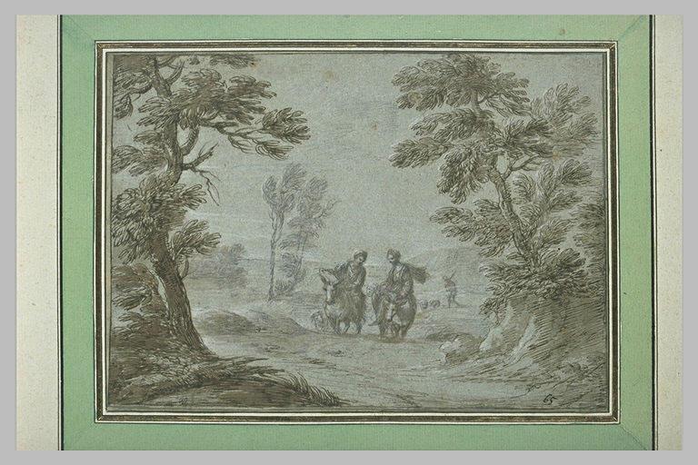 Homme et femme à cheval dans un paysage