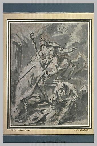 Un saint avec un livre et un évêque agenouillé devant la Vierge et l'Enfant