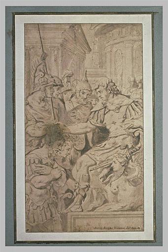 Un empereur romain couronnant des généraux vainqueurs