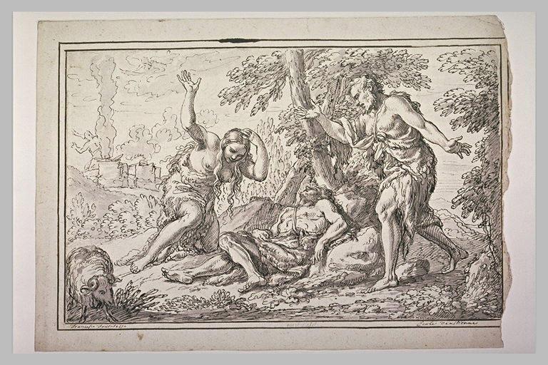 Adam et Eve pleurant Abel, mort au pied d'un arbre
