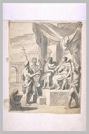LE BRUN Charles (école) : Saint Jean Baptiste reprochant sa conduite au roi Hérode