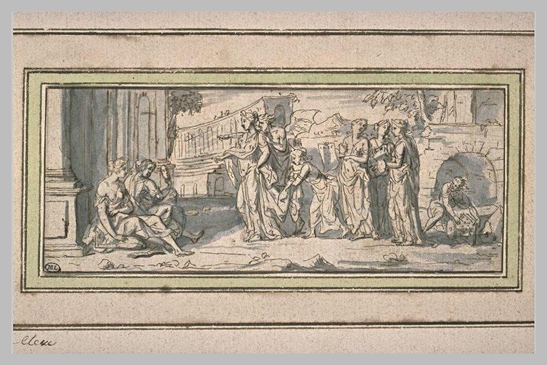 Une reine rend hommage à la Poésie et à la Comédie