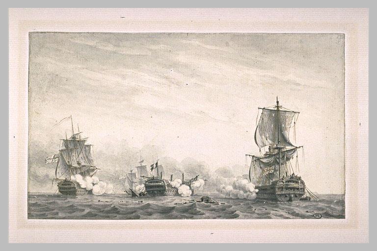 Fin du combat du Guillaume Tell, à la sortie de Malte en 1800