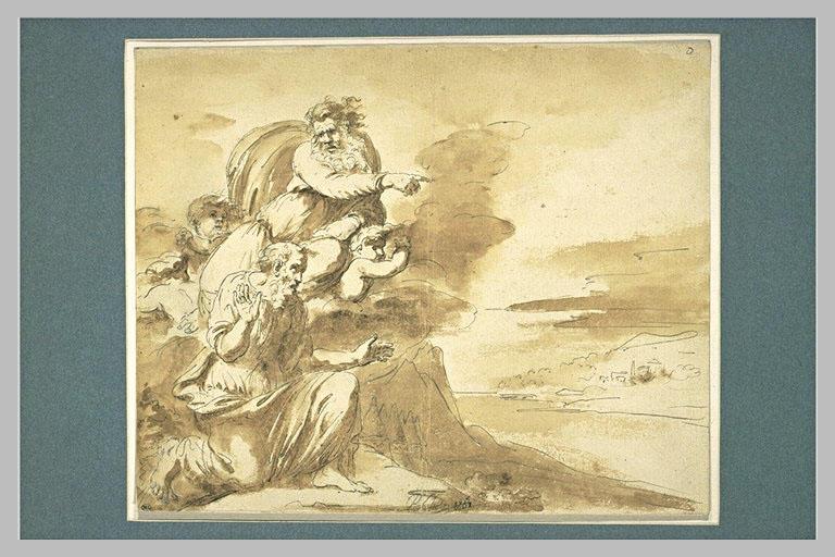 Dieu et Moïse sur le sommet d'une montagne