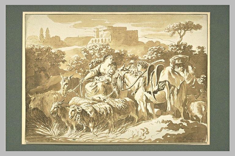 LELU Pierre : Bergers et bergères sur un chemin, avec une forteresse au loin