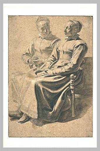 LE NAIN l'un des : Deux paysannes assises