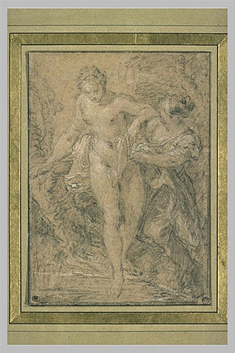 LEMOYNE François : Jeune femme nue entrant au bain