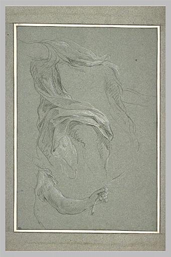 LEMOYNE François : Etude de draperie, et d'un bras tenant une palme
