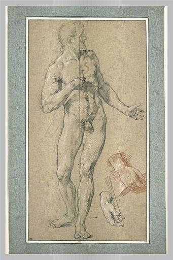 Homme nu, de face, et deux études de mains