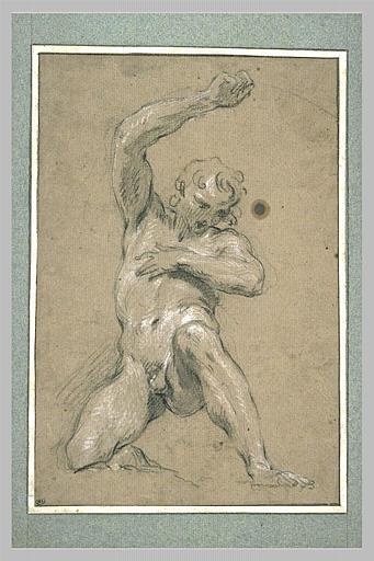 Jeune homme nu, de face, accroupi_0