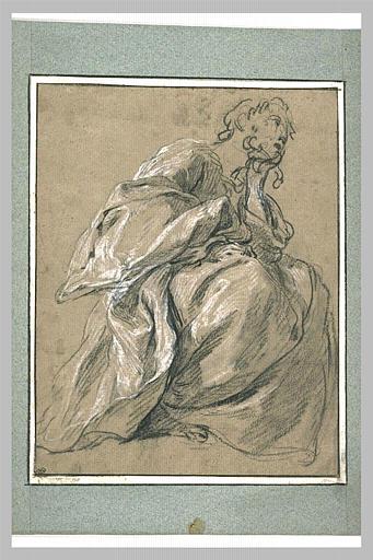LEMOYNE François : Etude d'une figure de femme drapée, assise, tournée vers la droite