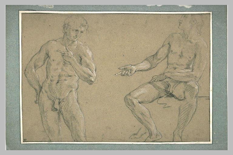 Etude de deux jeunes hommes, l'un debout et vu de face, l'autre assis