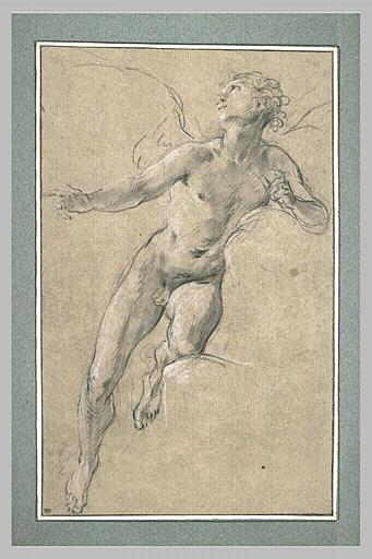 LEMOYNE François : Ange reposant sur le genou et le flanc gauche