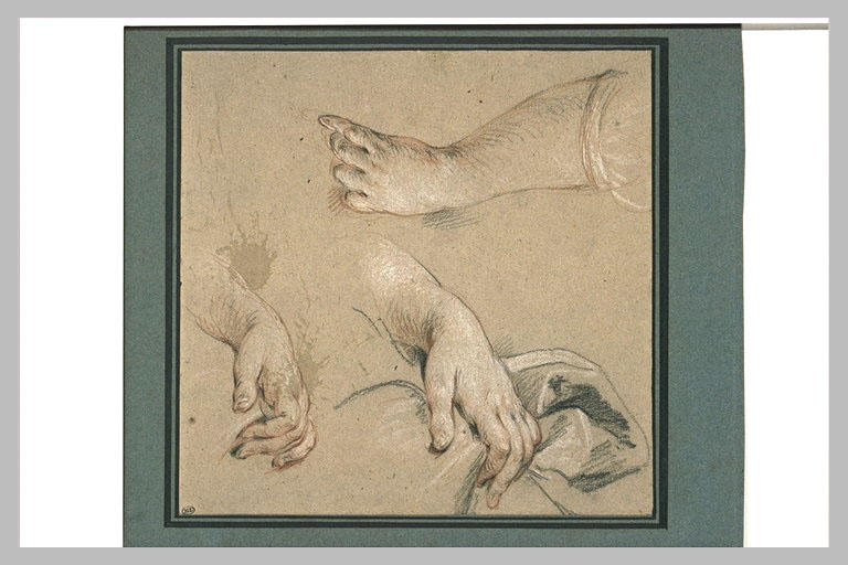 LEMOYNE François : Trois étude de mains, dont une tenant une draperie