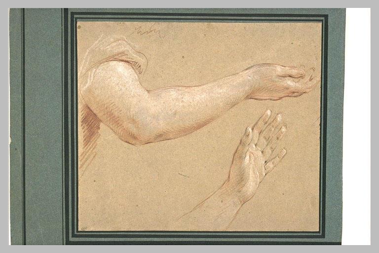 LEMOYNE François : Etude d'un bras droit et d'une main gauche