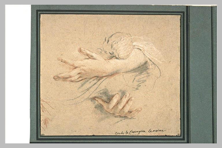 LEMOYNE François : Etude de deux bras tenant un bébé